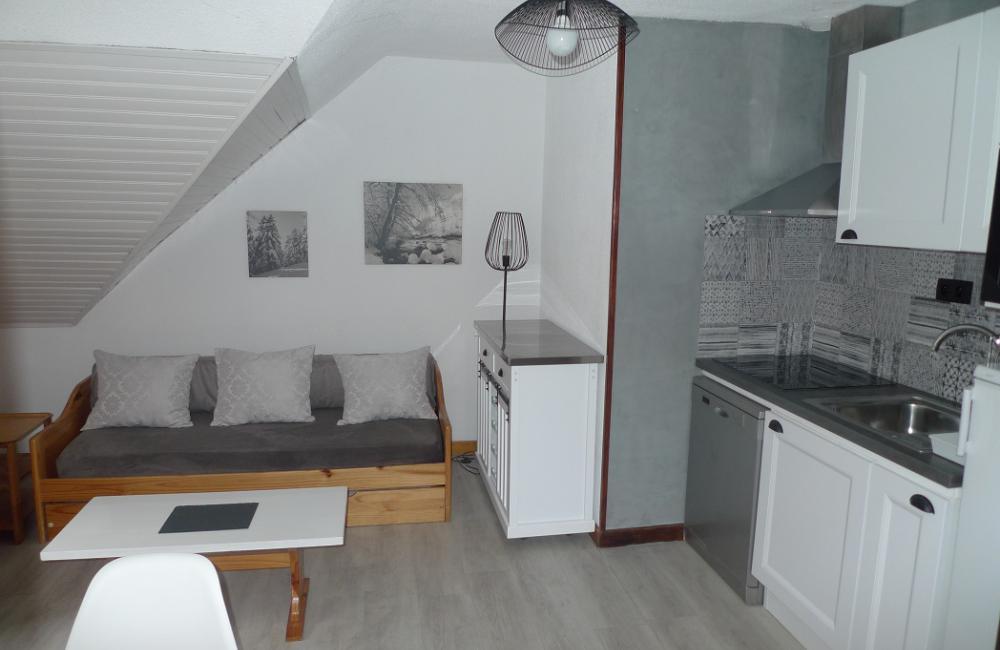 Cuisine équipée  salon - appartement Luz St Sauveur
